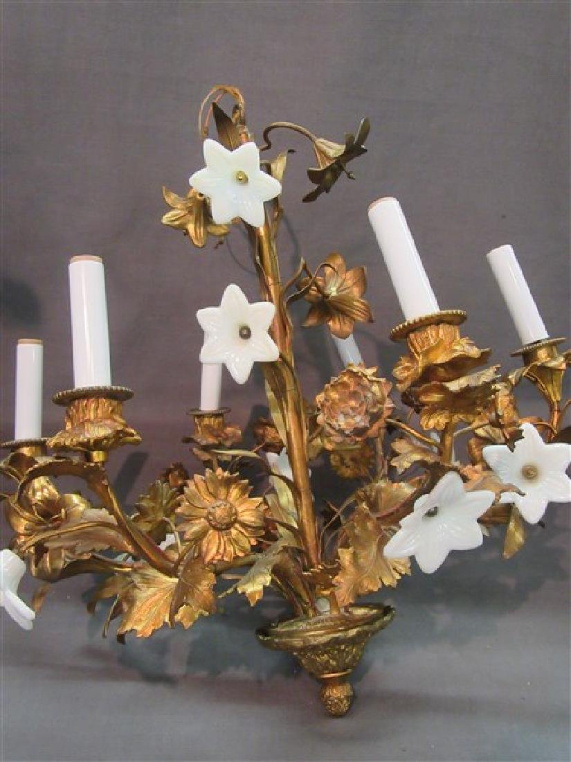French Gilt Bronze Six (6) Arm Chandelier - 6