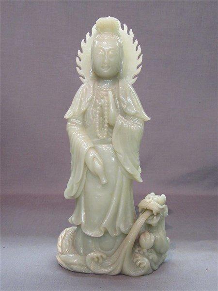 Chinese Green Jade Statue, Kuan Yin