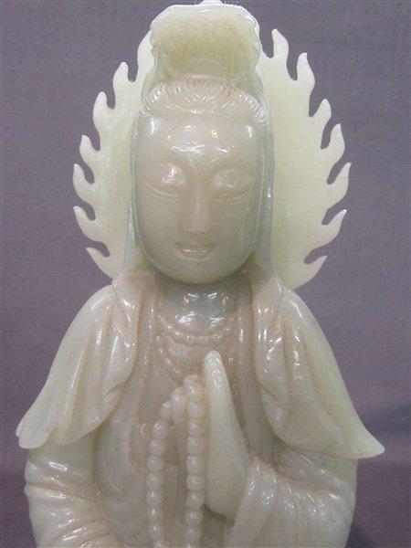 Chinese Green Jade Statue, Kuan Yin - 2