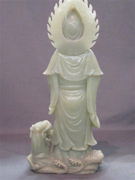 Chinese Green Jade Statue, Kuan Yin - 4