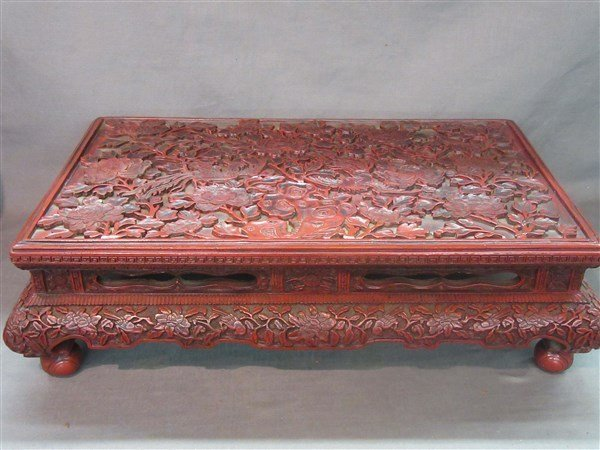 Chinese Carved Cinnabar Lacquered Table