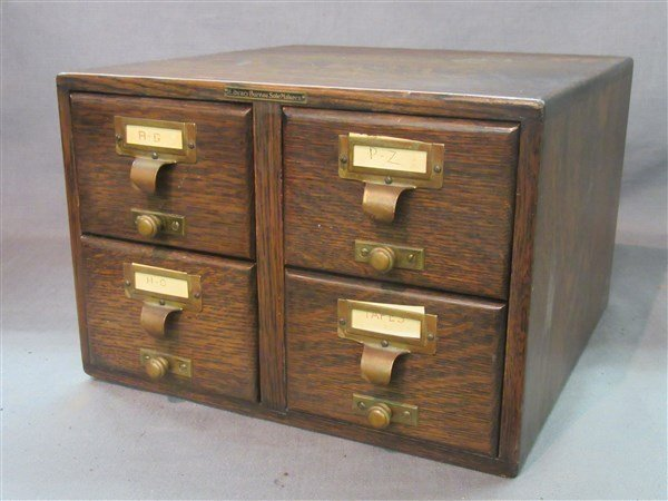 Library Bureau Solemakers Oak Index Card File Cabinet