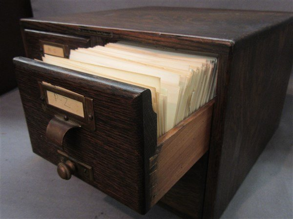 Library Bureau Solemakers Oak Index Card File Cabinet - 3