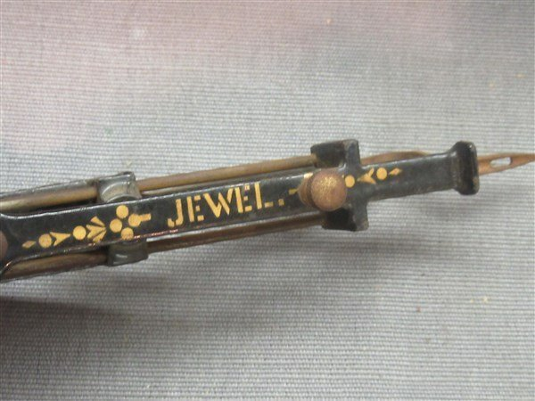 Victorian Tole Painted Jewel Sewing Tool - 2