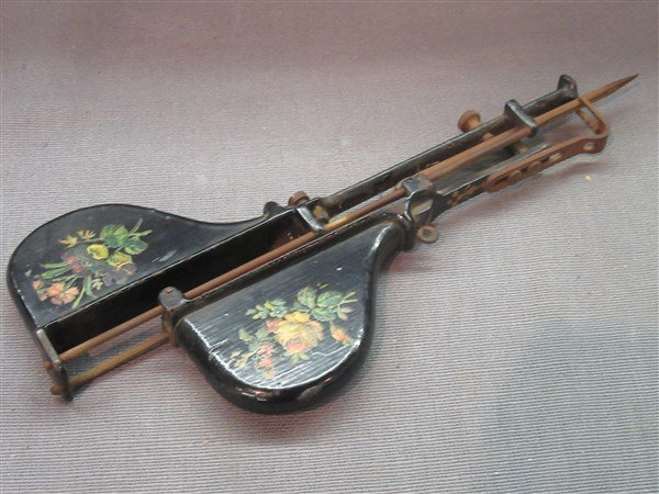 Victorian Tole Painted Jewel Sewing Tool - 3