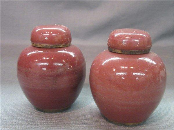A Pair Chinese 19th c. Peach Bloom Miniature Ginger Jar