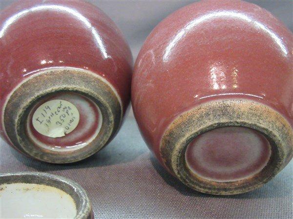 A Pair Chinese 19th c. Peach Bloom Miniature Ginger Jar - 4