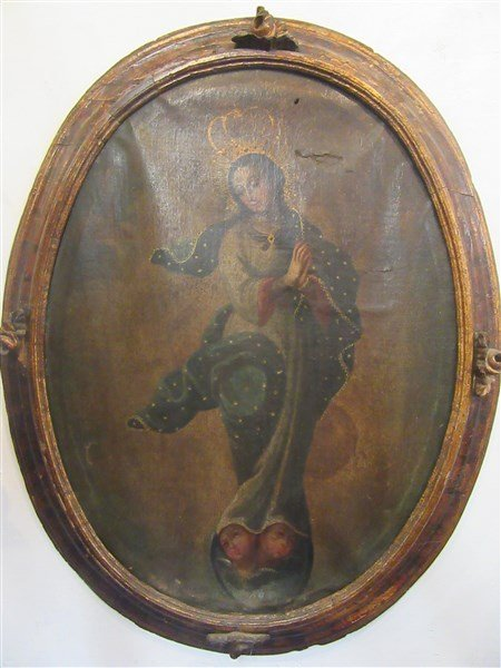 18th c. Peru Madonna And Child Oil On Canvas Painting