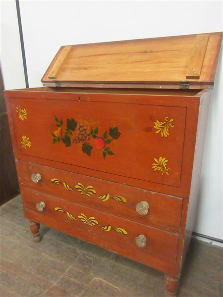 Red Painted American Pine Blanket Chest