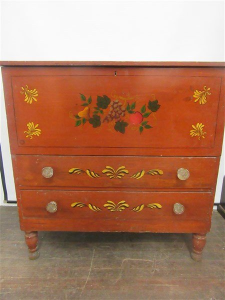 Red Painted American Pine Blanket Chest - 2