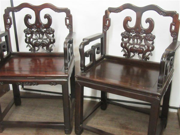 A Pair. Chinese Carved Rosewood Arm Chairs - 2