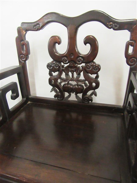 A Pair. Chinese Carved Rosewood Arm Chairs - 4