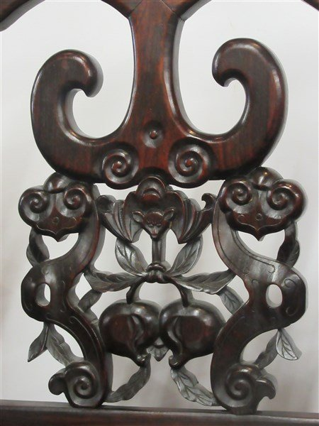 A Pair. Chinese Carved Rosewood Arm Chairs - 7