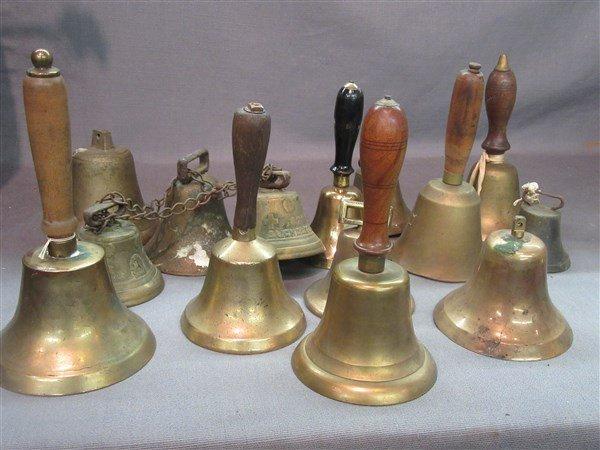Fifteen (15) 19th c. Brass Bells