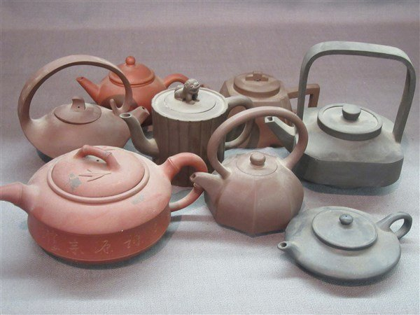 Eight (8) Contemporary Chinese Yixing Teapots