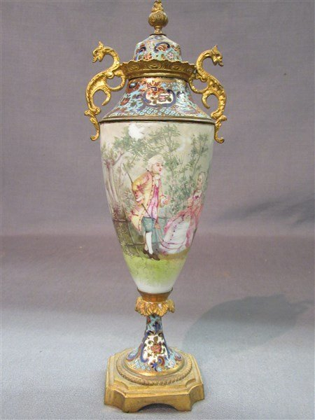French Champleve Enameled Covered Urn