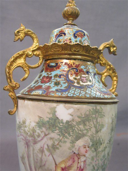 French Champleve Enameled Covered Urn - 2