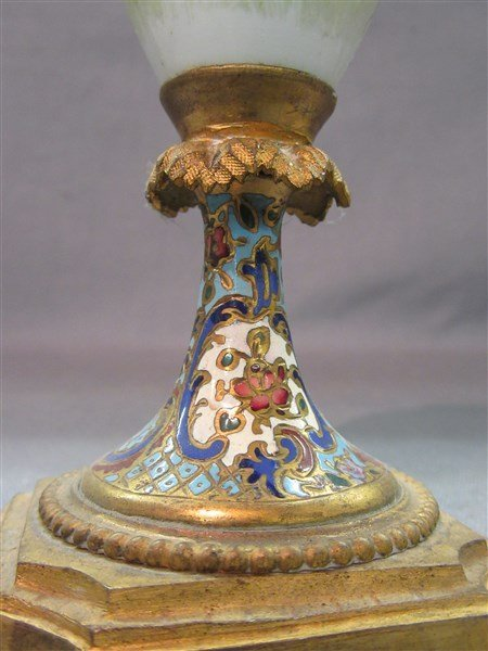 French Champleve Enameled Covered Urn - 3