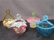 Four 4 Victorian Glass Brides Baskets
