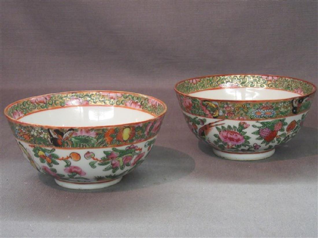 Chinese Rose Medallion Porcelain Bowls , Butterflies