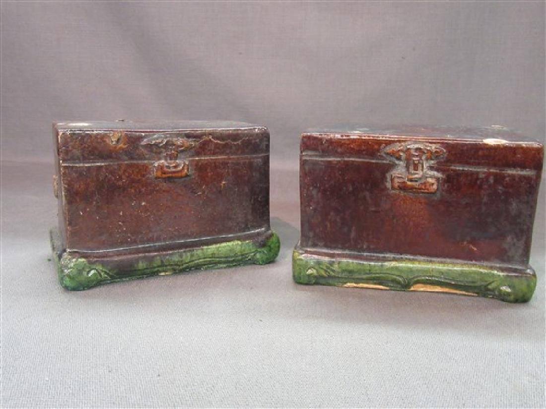 Chinese Ming Dynasty Green Glazed Pottery Chests
