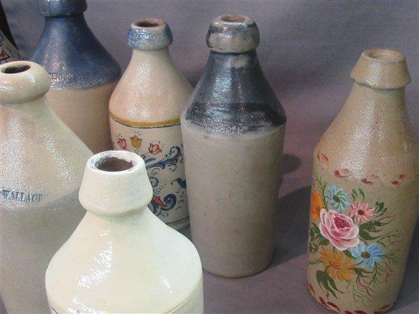 8 Stoneware Bottles - 7