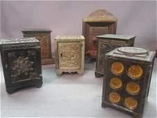 Six (6) Cast Iron Antique Still Banks
