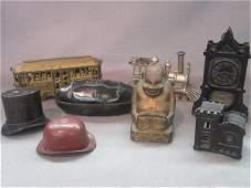 Eight (8) Cast Iron Figural Still Bank Lot