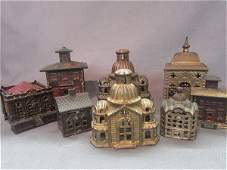 Eight (8) Figural Cast Iron Still Bank Buildings Lot