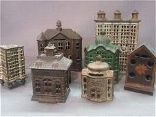 Eight (8) Figural Cast Iron Bank Buildings Still Banks
