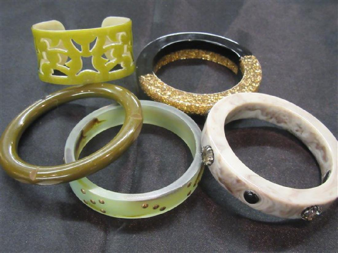 Five (5)  Vintage Plastic Bangle Bracelets