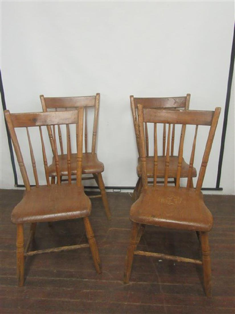 Set of Four (4) Country Farm House Chairs 19th C.