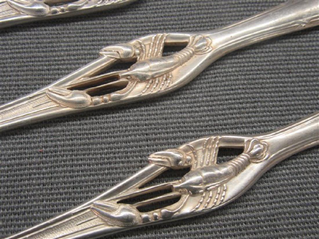 Set of 4 Silver Lobster Forks - 2