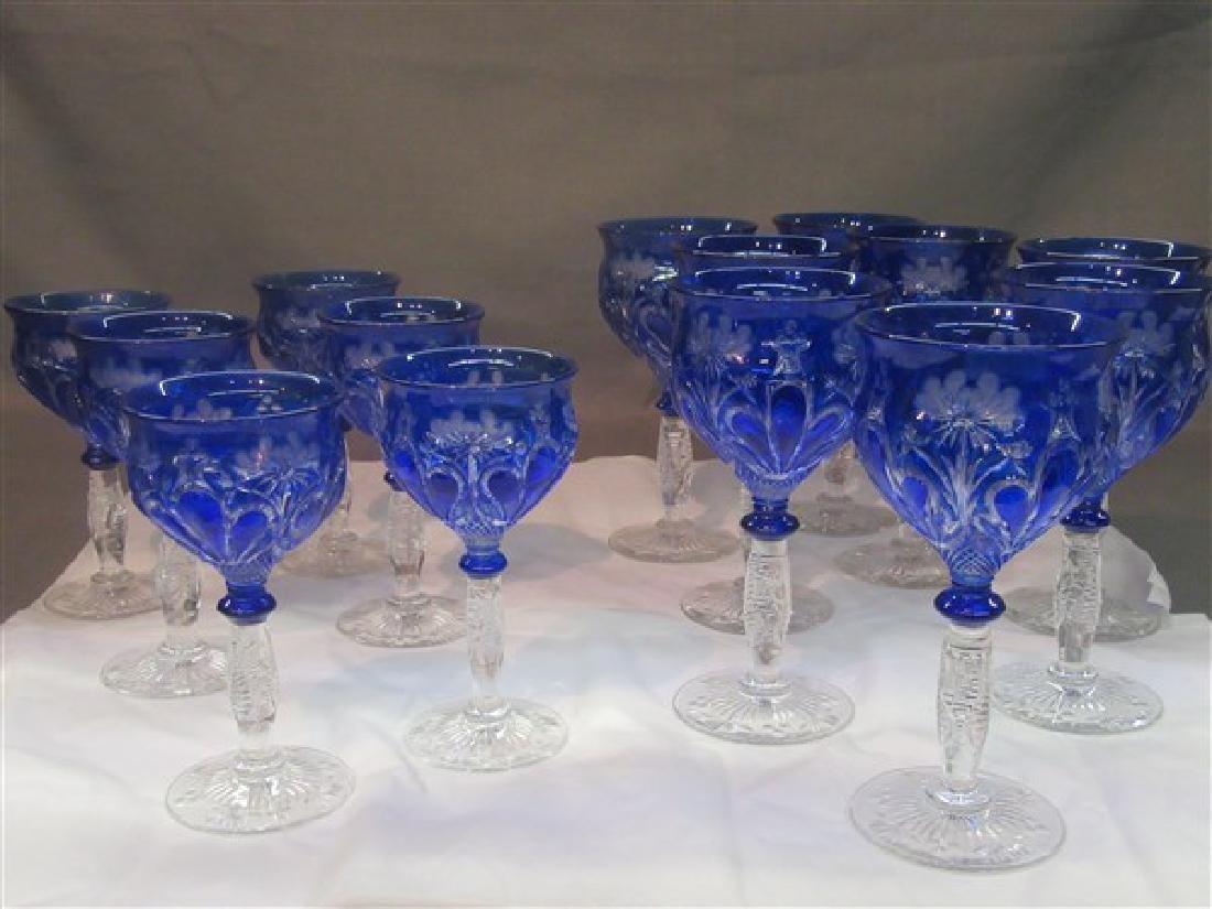 Bohemian Cobalt Blue Cut To Clear Goblets