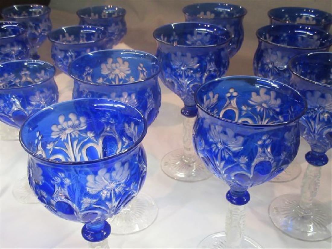 Bohemian Cobalt Blue Cut To Clear Goblets - 2