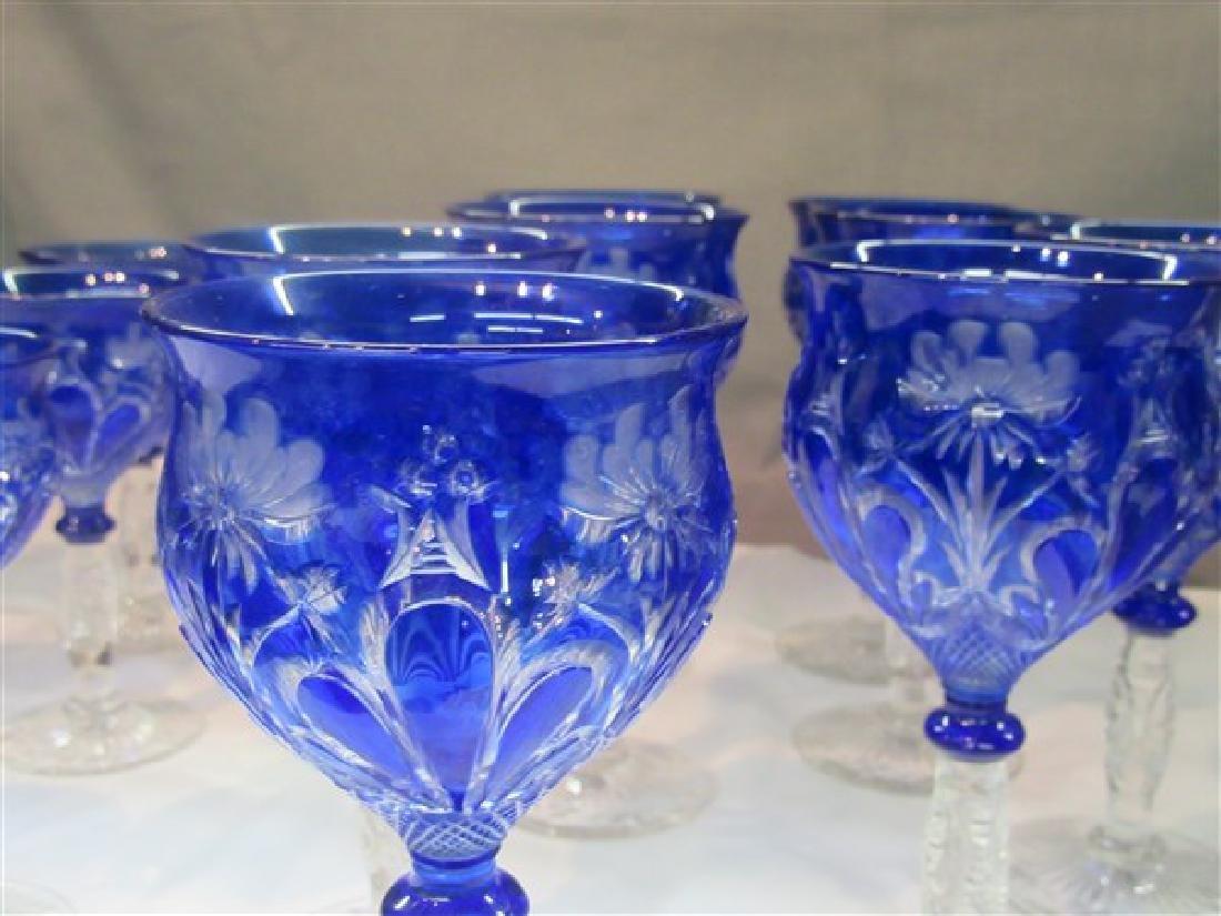 Bohemian Cobalt Blue Cut To Clear Goblets - 3
