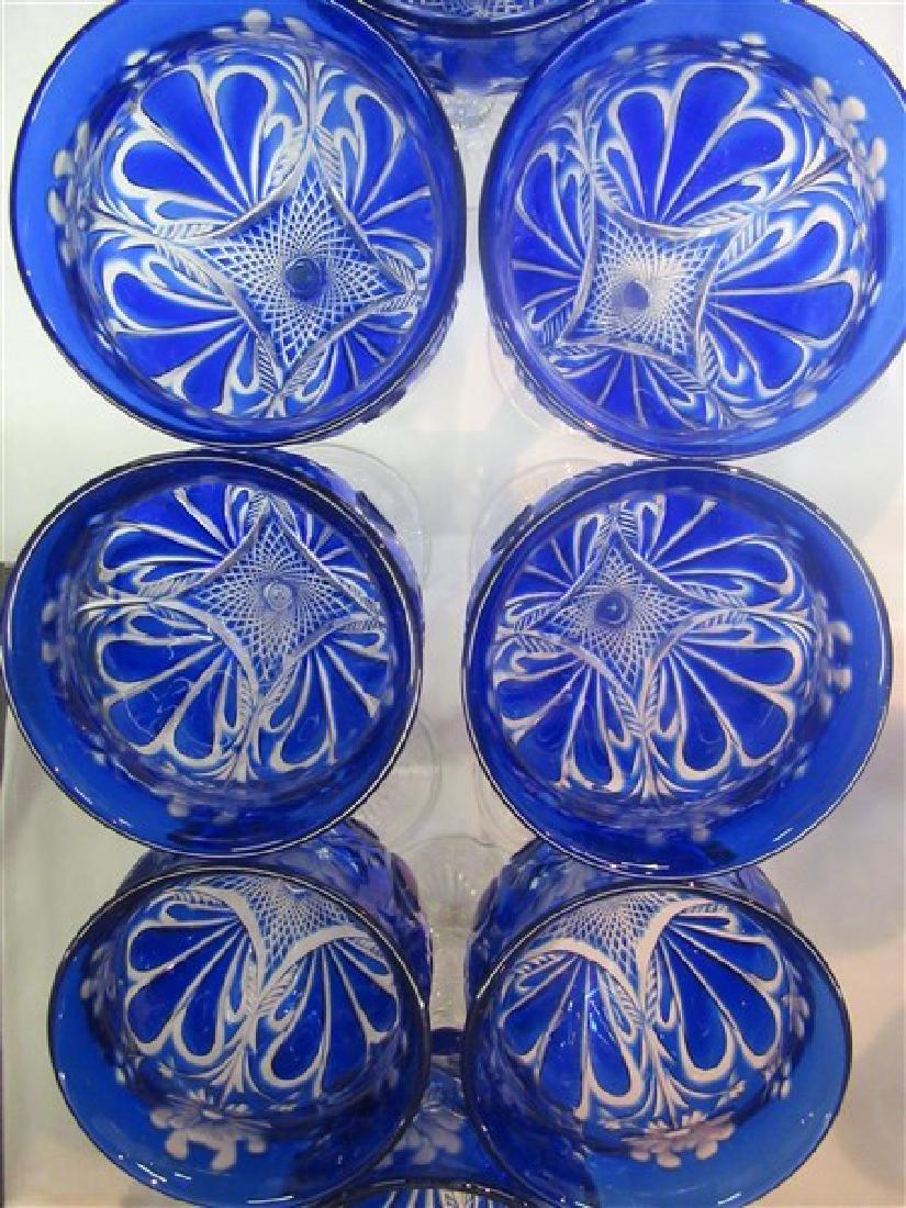 Bohemian Cobalt Blue Cut To Clear Goblets - 5