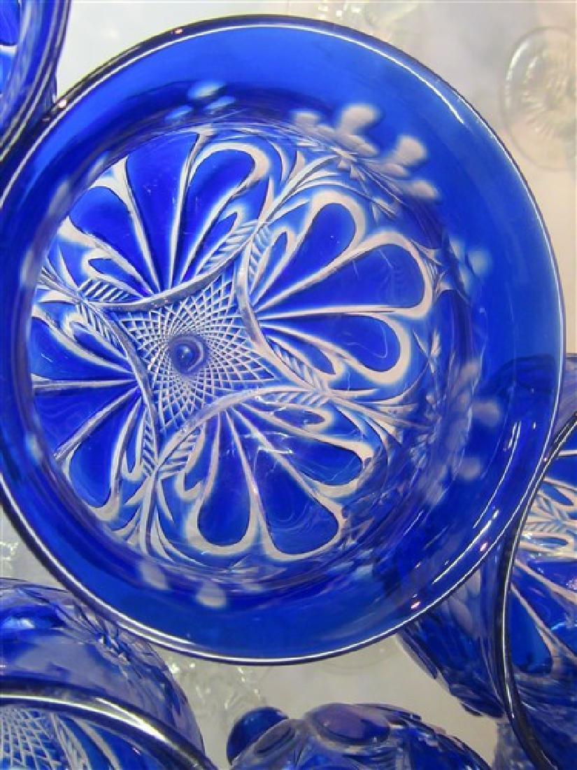 Bohemian Cobalt Blue Cut To Clear Goblets - 6