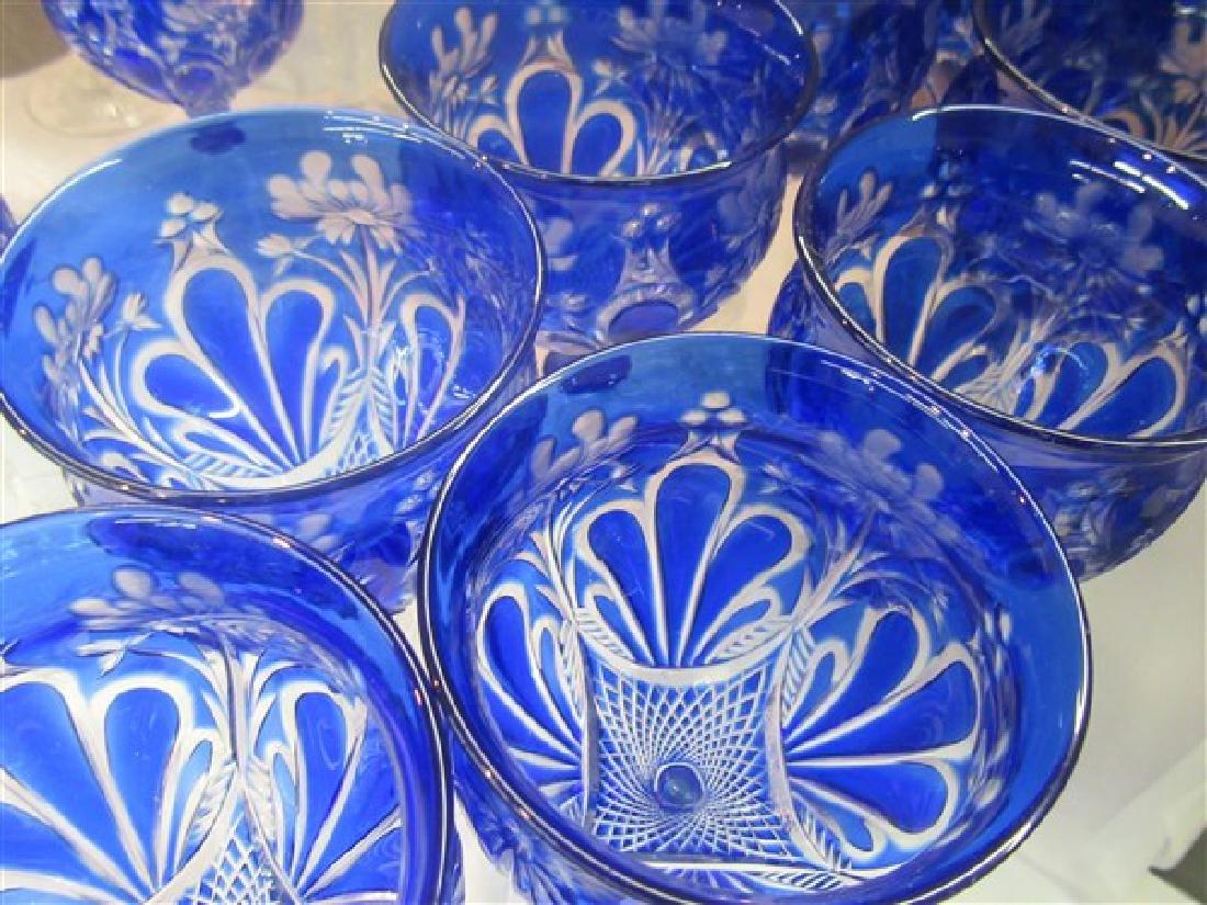 Bohemian Cobalt Blue Cut To Clear Goblets - 7