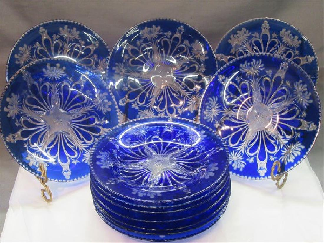 Thirteen (13) Bohemian Cobalt Cut To Clear Glass Plates