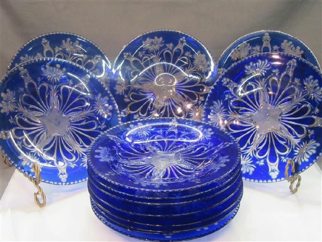 Thirteen (13) Bohemian Cobalt Cut To Clear Glass Plates - 2