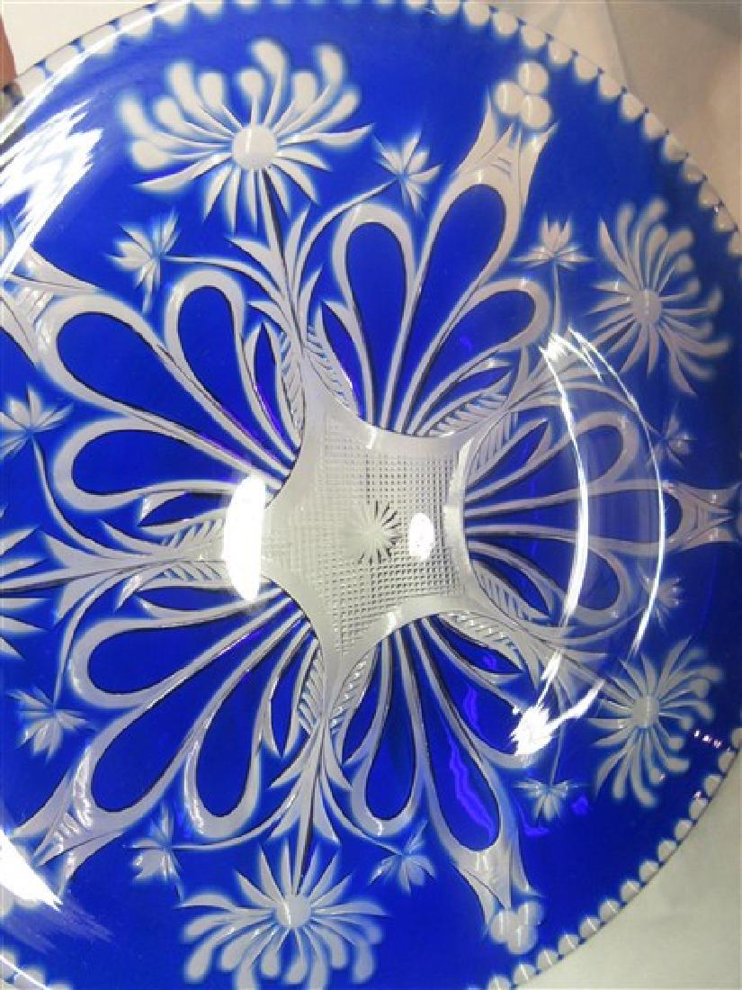 Thirteen (13) Bohemian Cobalt Cut To Clear Glass Plates - 3