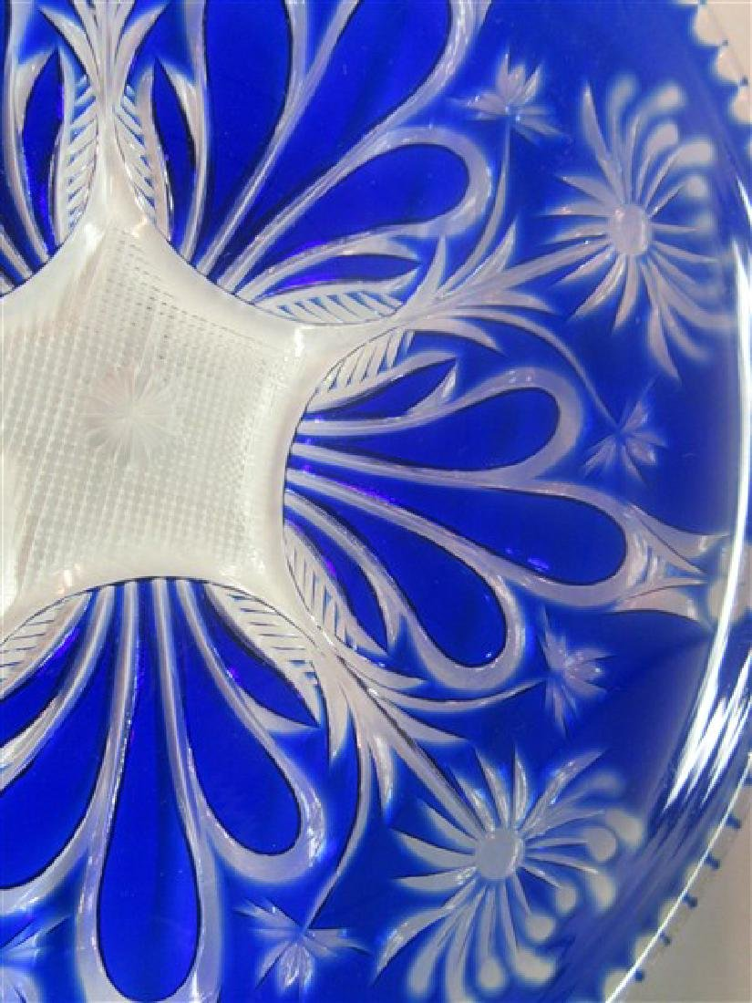 Thirteen (13) Bohemian Cobalt Cut To Clear Glass Plates - 4