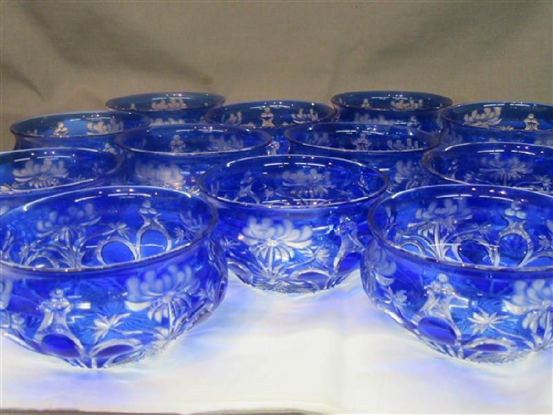 Twelve (12) Bohemian Cut To Clear Glass Bowls