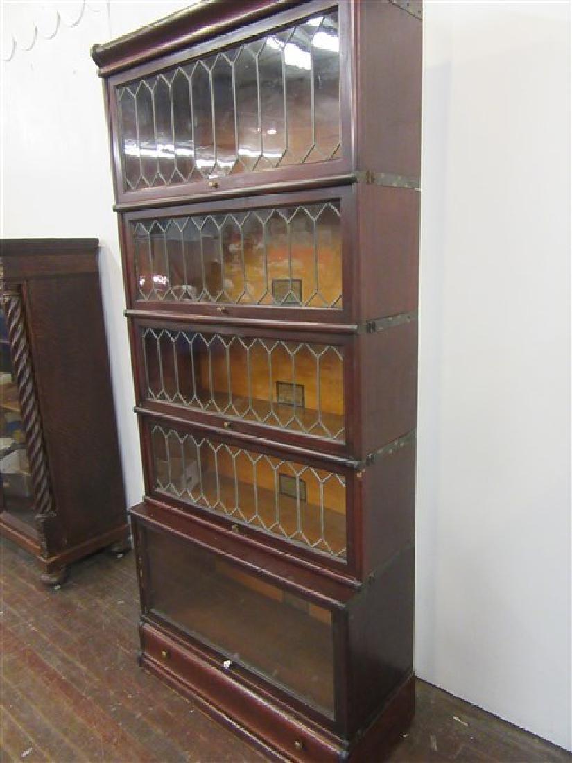 Globe Wernicke Five Stack Mahogany Bookcase - 4