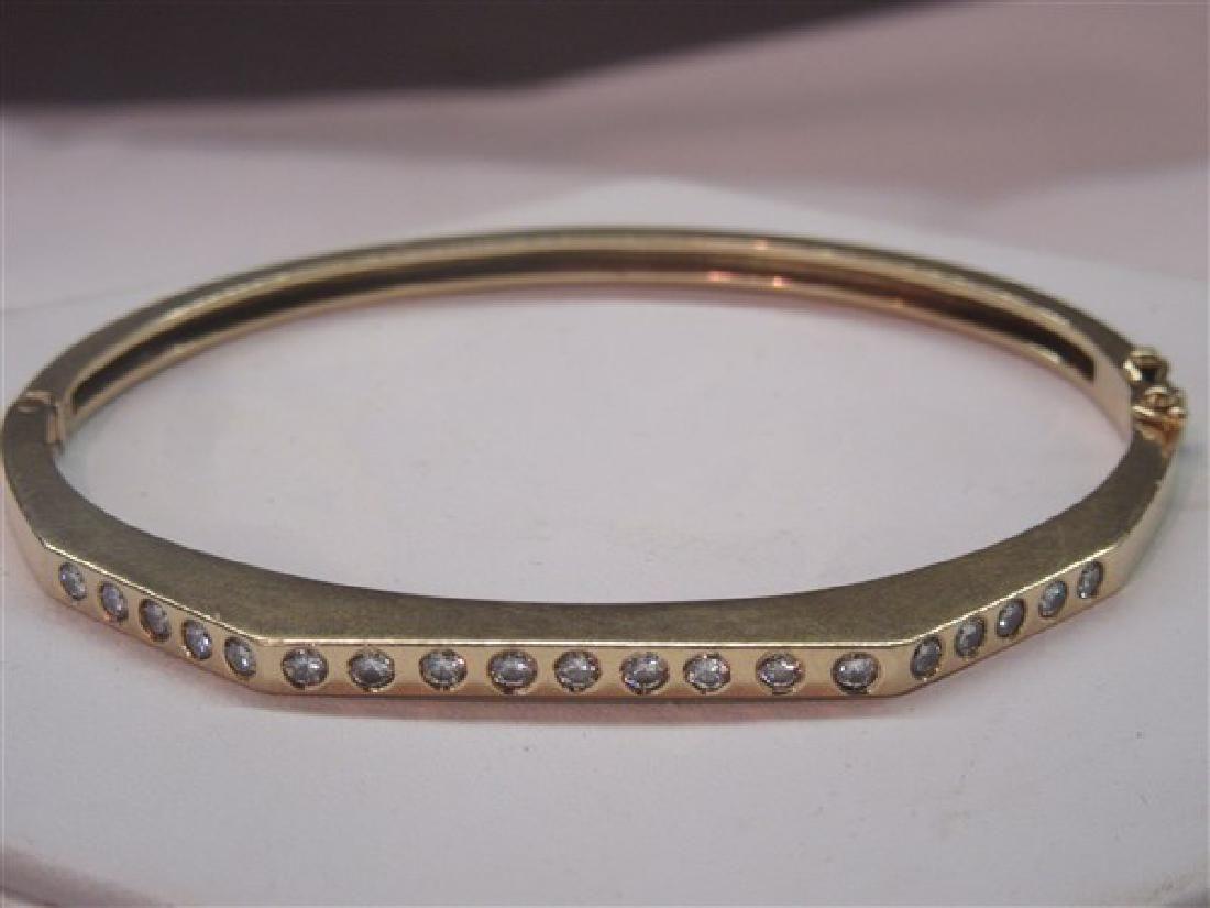 14k Gold Diamond Hinged Bracelet