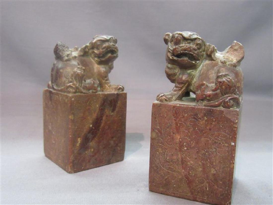 Pr. Chinese Carved Foo Dog Seals