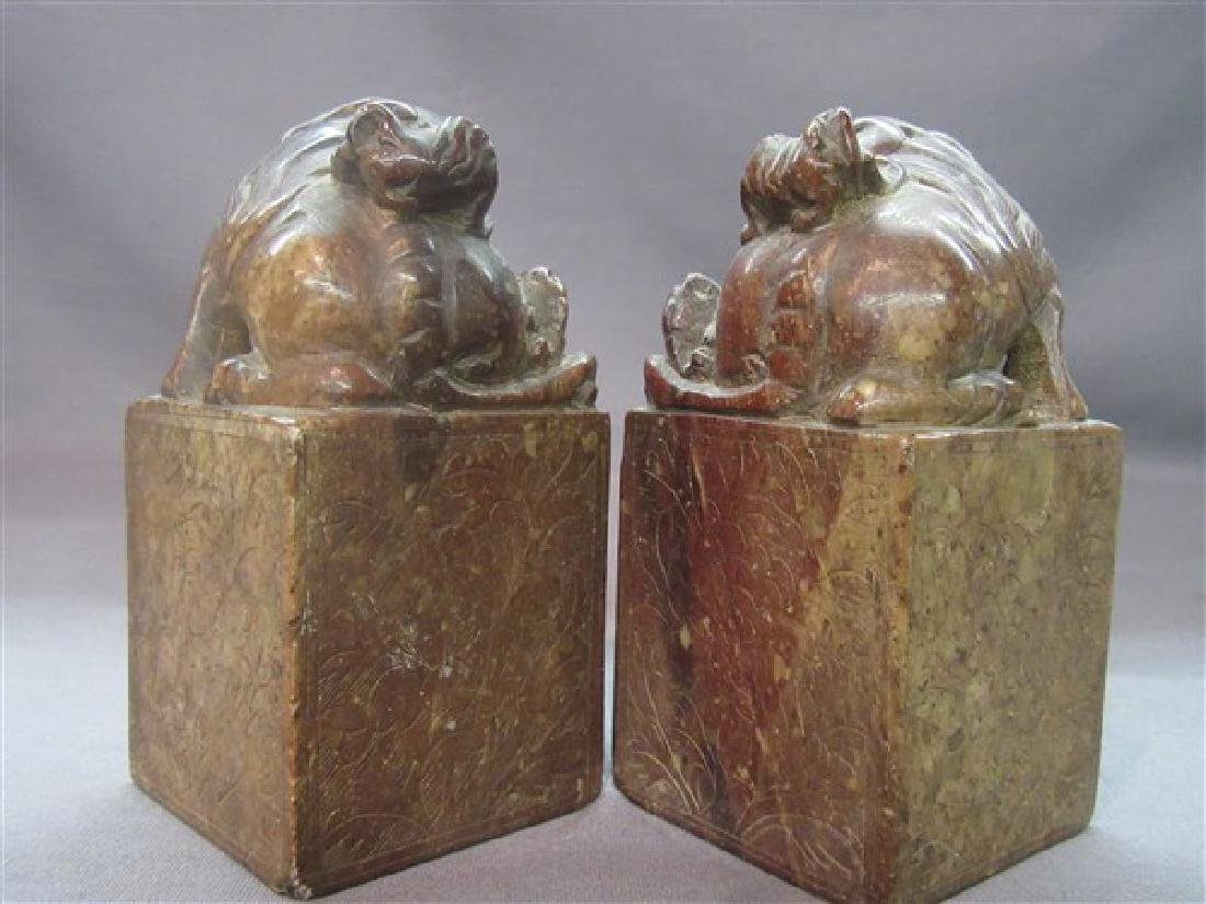 Pr. Chinese Carved Foo Dog Seals - 4
