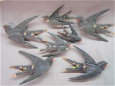 Americana Folk Art Carved Wood Black Birds