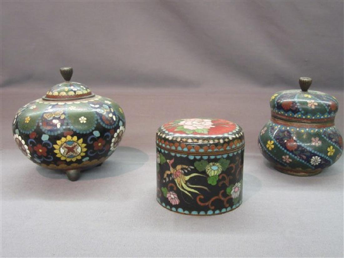 Three (3) Chinese Cloisonne Covered Jars